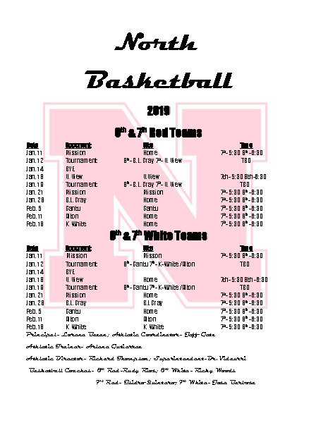 2019 Boys basketball sched